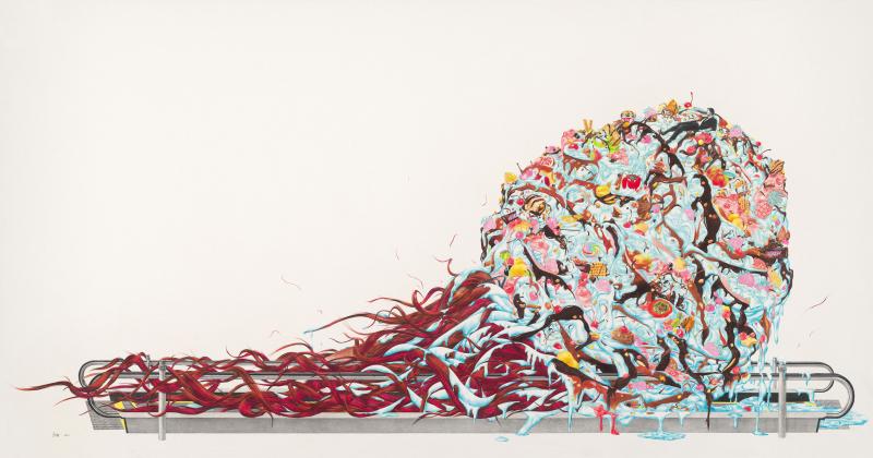 甜蜜的诱惑    Sweet Temptation           colored pencil,  paper   100 x 190cm    2011