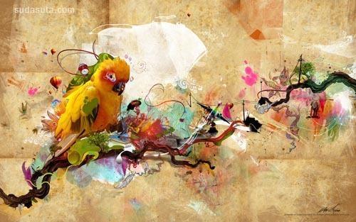 鹦鹉的啼叫 数字艺术插画欣赏