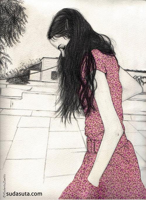 长发 铅笔手绘女生