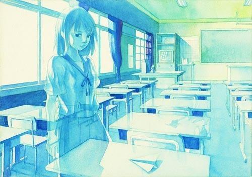 以蓝色为主色调的插画作品欣赏