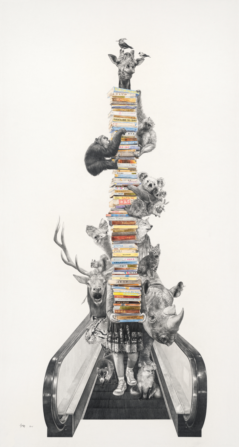 伴我同行 Come  With  Me                 colored  pencil,  paper   150 x 80cm    2011