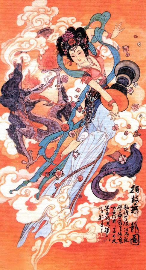 图片素材 传统中国仕女飞天