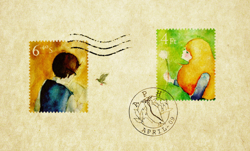 yocchi 一张邮票的水彩画