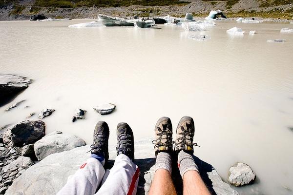 冰川湖,新西兰。