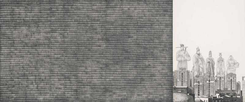 赟—文    YUN(赟)— Literature                    pencil,  paper    50 x 120cm    2010