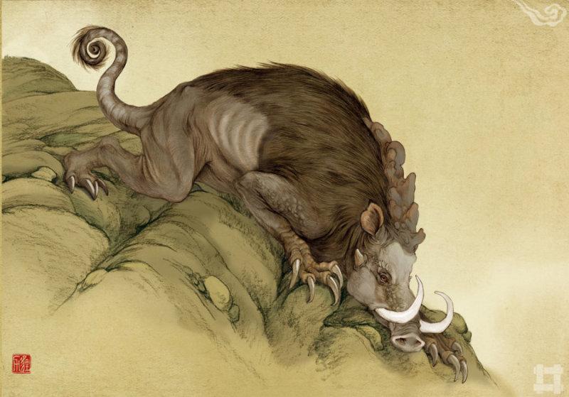 狸力(li li) 櫃山上的畏兽,样子像猪,四肢却长出了爪子,带有锯齿。见到它的地方,地面多起伏,所以猜测狸力善于挖土
