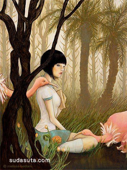 少女与花 手绘插画欣赏