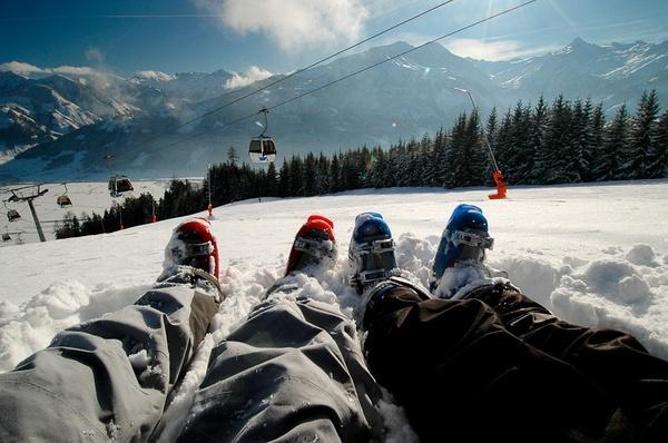 滑雪。奥地利。