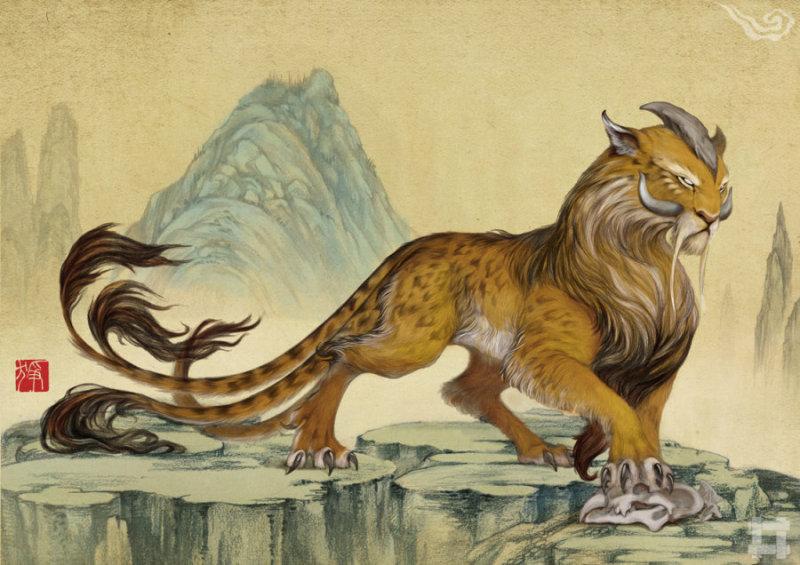 狰(zheng) 章峨山,千里无草木植被,多碧岩。此山中有一畏兽,五尾一角,吼叫声如雷劈石,以老虎豹子为食物。