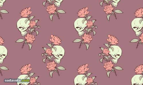 玫瑰主题平铺背景下载