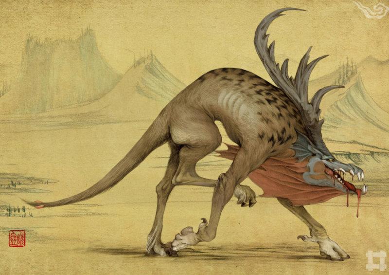 蛊雕(gu diao) 是一种似鸟非鸟,似豹非豹的食人畏兽,独角,叫起来像婴儿的啼哭。