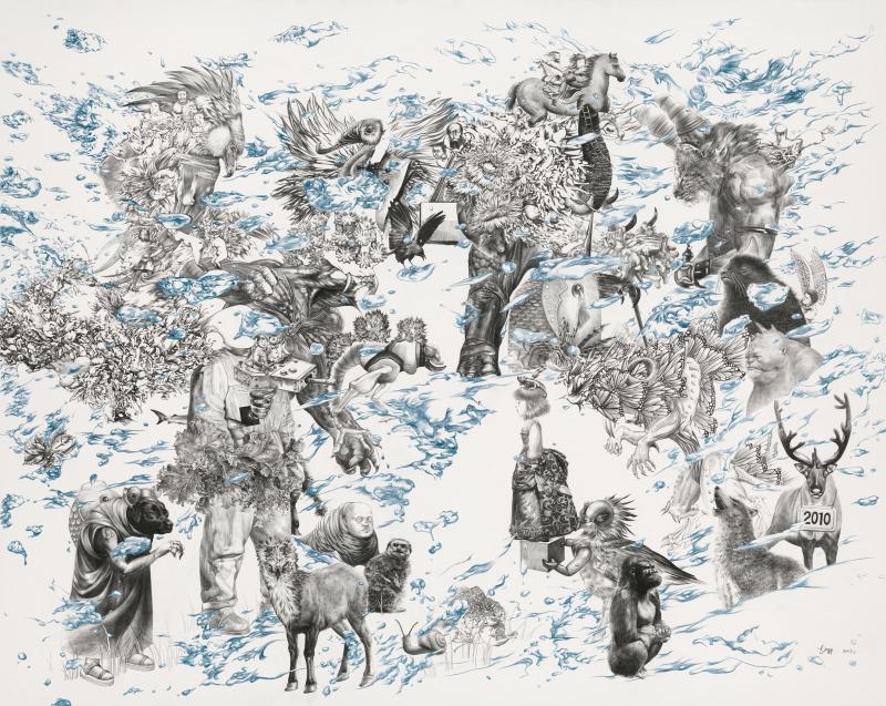 爱丽丝梦游仙境  Alice in Wonderland                 pencil,  paper    90 x 110cm    2011