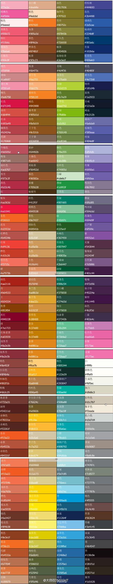 中国古代各种用色