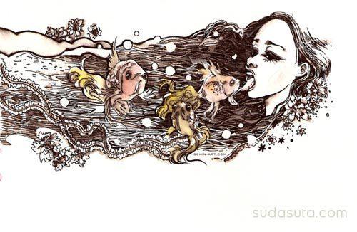 时尚插画铅笔草图