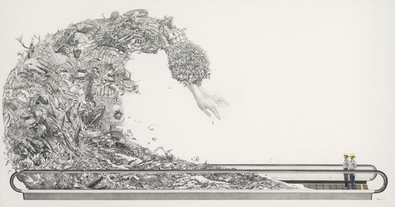 上帝之手     In God's Hands             colored pencil ,  paper   100 x 190cm    2011