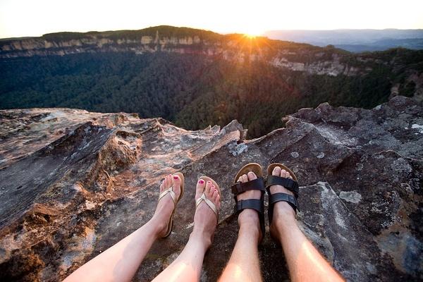 蓝山澳大利亚。落日