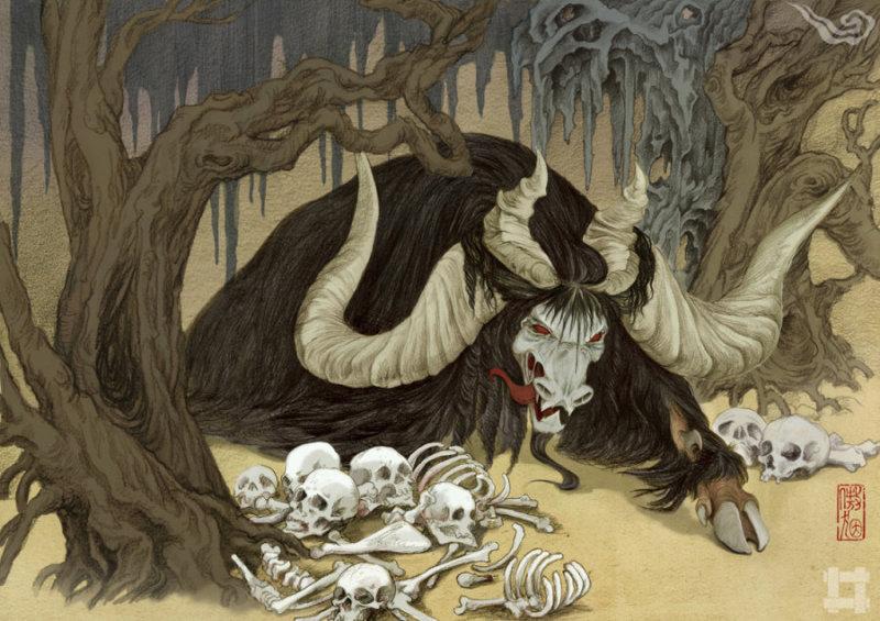 獓狠(犬因)(ao yin) 三危山食人巨兽,样子有些像牛,长着四只角,它的毛发很长,就像披在身上的蓑衣。