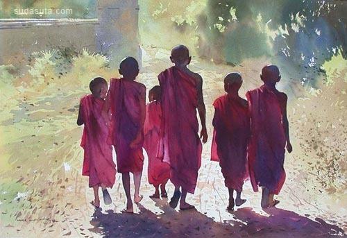 缅甸画家Myoe Win Aung水彩画欣赏