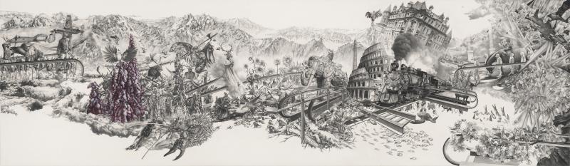 竞土    Competing  Soil            colored pencil,pencil,  paper    70 x 240cm    2011