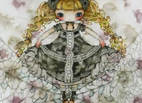 万圣节的娃娃-水彩插画欣赏