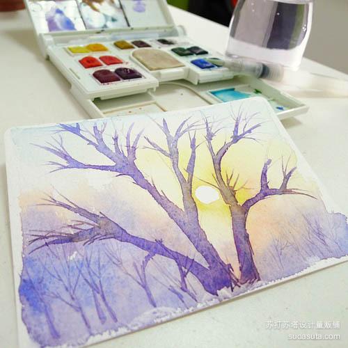 無月 清新可爱的水彩手绘