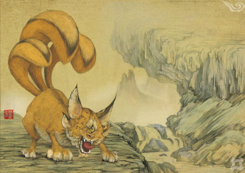 讙(huan) 翼望山的畏兽,样子长的像狸猫,体格娇小,独目,三条尾巴,它可以模仿上百种动物的叫声,传说肉可以入药。