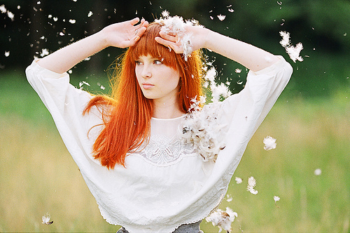 女孩 摄影 羽毛