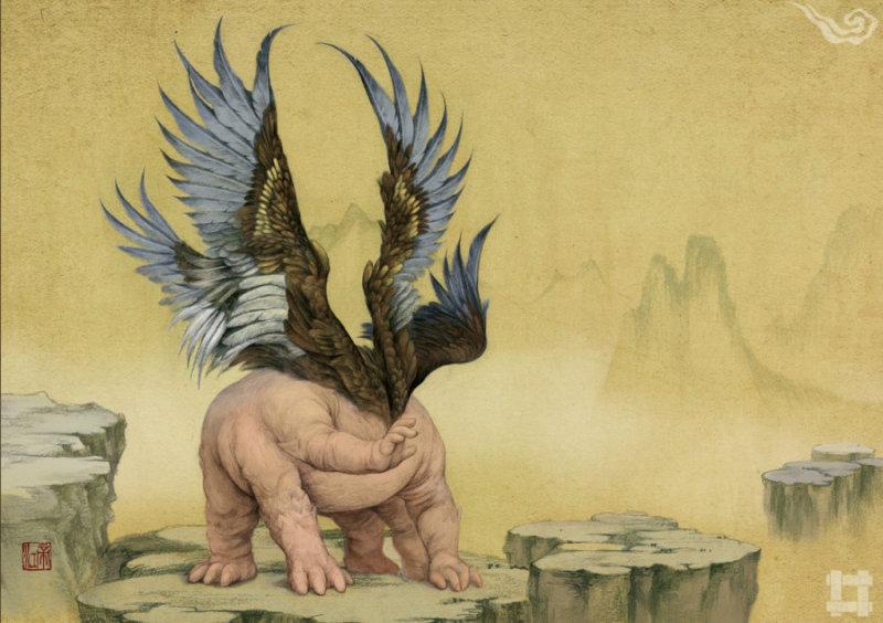 """帝江(di jiang) 《山海经》第二卷《西山经》云:""""又西三百五十里曰天山,多金玉,有青雄黄,英水出焉,而西南流注于汤谷。有神鸟,其状如黄囊,赤如丹火,六足四翼,浑敦 无面目,是识歌舞,实惟帝江也。""""意思就是西方的天山上,有一只神鸟,形状像个黄布口袋,红得像一团红火,六只脚四只翅膀,耳目口鼻都没有,但却懂得歌 舞,名字叫做""""帝江""""。除此之外,《庄子》、《神异经》记载的怪兽也叫此名。黄帝、共工氏首领在一些记载当中也被称为""""帝江"""""""