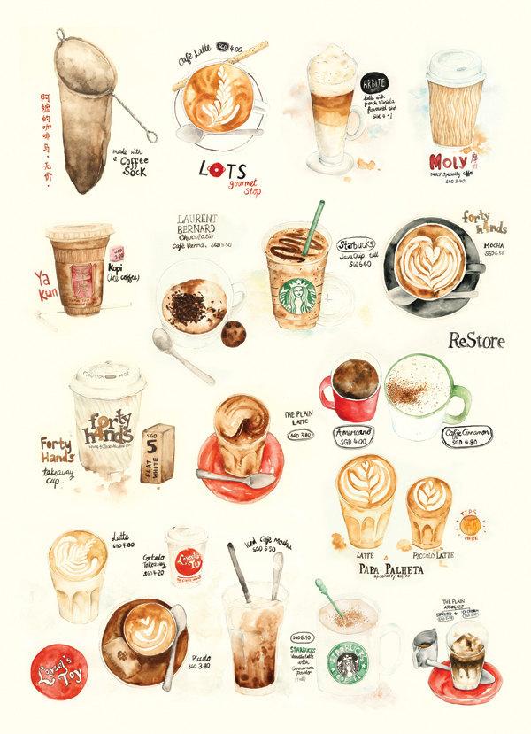 Lily X 手绘水彩咖啡小图