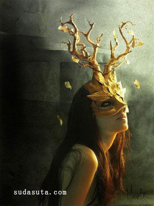 鹿角面具 恐怖摄影欣赏