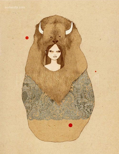Irena Sophia 穿着熊皮的女孩