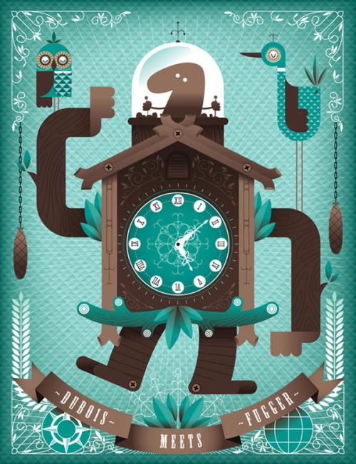 插画作品欣赏 灵感的钟表