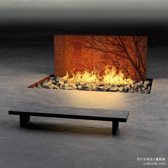 Tree Wall Fireplace
