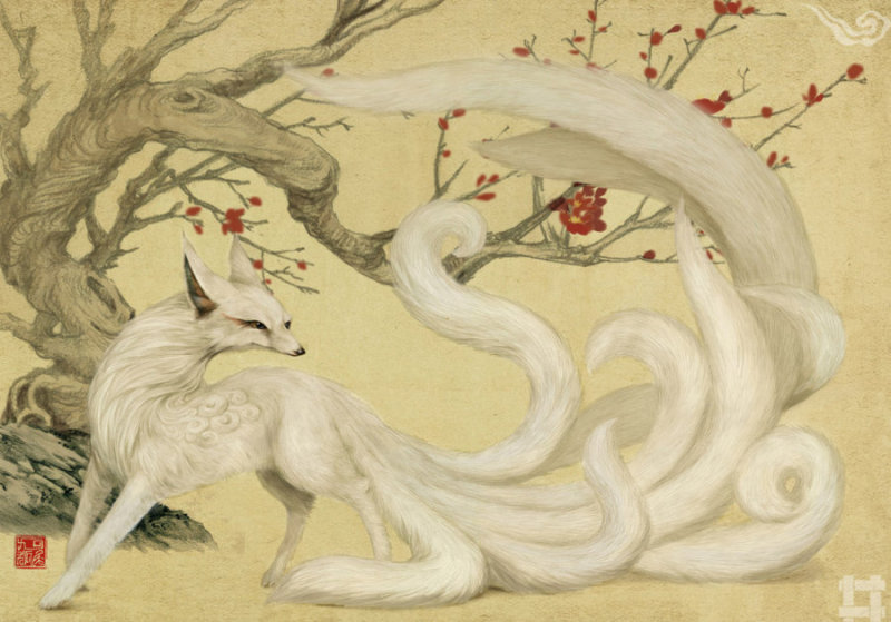 """九尾狐 """"青丘国在其北,其狐四足九尾。""""《海外东经》 """"有青丘之国,有狐,九尾。""""《大荒东经》 史书中记载,九尾狐成就了""""大禹""""与""""涂山氏""""的佳缘,成为了中国古书中出现的最早的""""婚姻中介"""",传说中人吃了她的肉,可以不逢妖邪之气,抗拒蛊毒。九尾狐在《山海经》中出现了三次,后来成为祥瑞和子孙繁荣的象征。"""