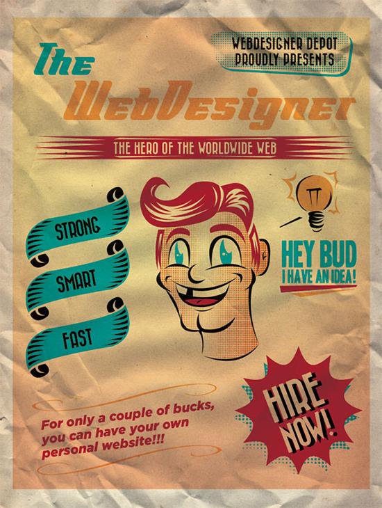 在Illustrator中创建一个复古风格的广告海报<br /> http://www.webdesignerdepot.com/2011/11/create-a-50s-ad-poster-in-illustrator/