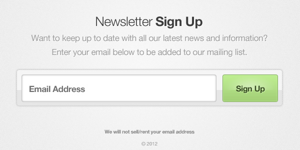 Newsletter Sign Up Form<br /> http://365psd.com/day/3-33/