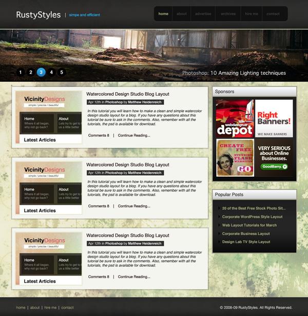 在photoshop中绘制一个带有纹理效果的WEB界面 http://psdvibe.com/2009/04/22/create-a-sleek-and-textured-web-layout/