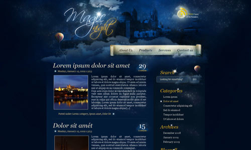 在photoshop中绘制一个魔法夜晚主题的页面<br /> http://psd.tutsplus.com/tutorials/interface-tutorials/photoshop-web-design-night-theme/