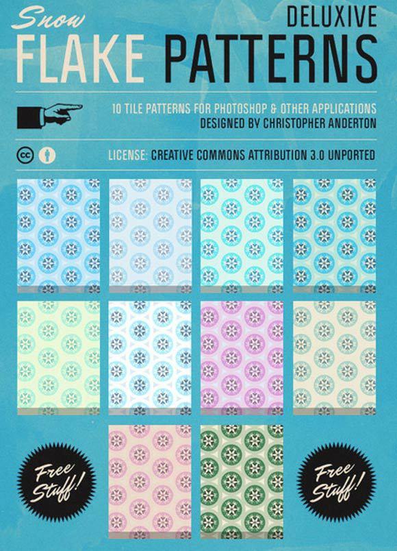 雪花photoshop图案<br /> http://www.brusheezy.com/patterns/16380-deluxive-snow-flakes-tile-patterns