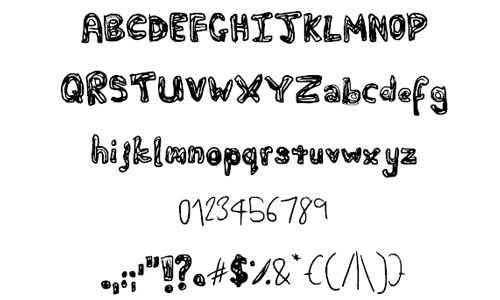 Fat Squiggles font<br /> By Phantomhive Company.<br /> http://www.fontspace.com/phantomhive-company/fat-squiggles