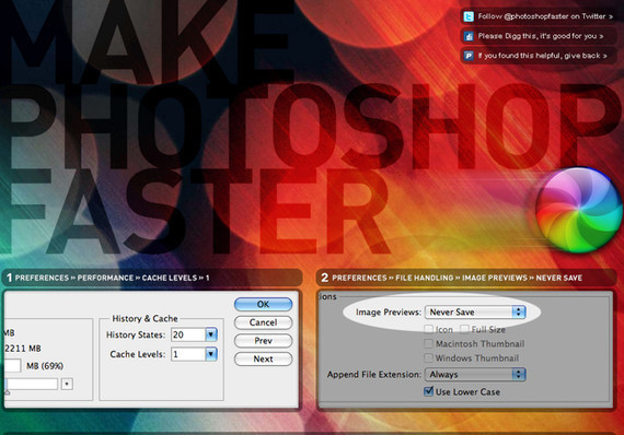 Make Photoshop Faster<br /> http://makephotoshopfaster.com/