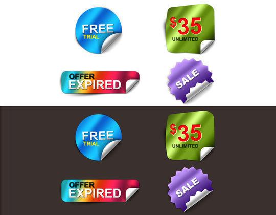 免费闪亮的剥离贴纸<br /> http://themecavern.com/free-shiny-peel-stickers-psd