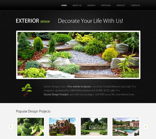 Demo:<br /> http://www.websitetemplatesonline.com/free-template/Free-Exterior-Design-Theme.html<br /> Download:<br /> http://www.templatemonster.com/free-templates/free-website-template-jquery-slideshow-exterior-design.php