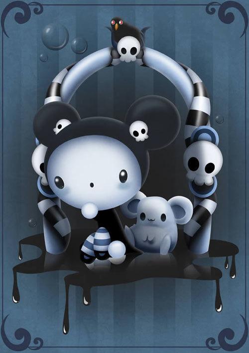 在Photoshop中创建一个可爱的儿童插图 http://psd.tutsplus.com/tutorials/illustration/cute-scary-childrens-illustration/
