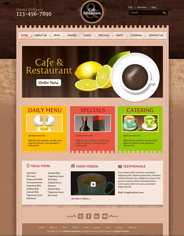 咖啡馆和餐厅模板PSD<br /> http://downloadpsd.com/templates/cafe-and-restaurant-template-psd/