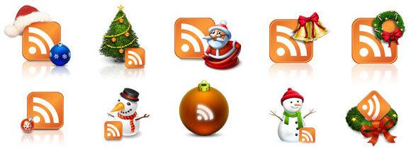真正的圣诞RSS图标<br /> http://www.ajaxpath.com/christmas-rss-icons