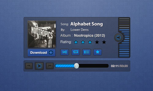 蓝图音乐播放器PSD<br /> http://pixelsdaily.com/resources/photoshop/psds/blueprint-music-player-psd/
