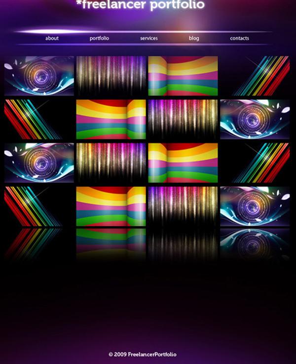 时尚绚丽的web效果图绘制 http://www.adobetutorialz.com/articles/3082/1/Modern-and-Colorful-web-layout