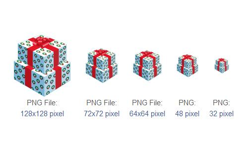 礼品图标<br /><br /> 16像素,24PX,32px,48像素,64x64px,72x72px,128x128px,512x512px