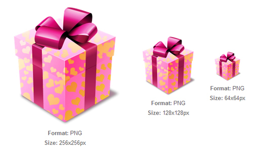 粉红色的礼品图标<br /><br /> 24x24px,32x32px,48x48px,64x64px,128x128px,256x256px<br /><br /> http://iconbug.com/detail/icon/3668/pink-gift/